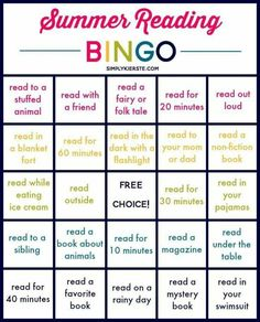 Summer Reading Bingo Can't decide what to add to your summer reading list? Let BINGO decide for you! Reading Bingo, Kids Reading, Reading Activities, Summer Activities, Reading Logs, Teaching Reading, Reading Homework, Library Activities, Reading Games