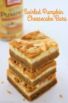 Swirled Pumpkin Cheesecake Bars - better than a pumpkin pie! Tasty pumpkin bar with a delicious swirled layer of cream cheese. Perfect fall and Thanksgiving dessert. Pumpkin Swirl Cheesecake, Pumpkin Pie Bars, Pumpkin Dessert, Pumkin Pie, Pumpkin Squares, Pumpkin Brownies, Homemade Pumpkin Pie, A Pumpkin, Delicious Desserts