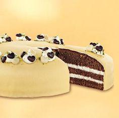 Gefüllte Schoko-Marzipan-Torte                              -                                  Feiner Schokoladen-Biskuit mit Marzipandecke