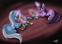 Trixie vs Twilight Sparkle at Magic: The Gathering? It doesn't get much more geek than that! Tiny Horses, My Little Pony Merchandise, Geek Games, Mlp Pony, Anime Fantasy, My Little Pony Friendship, Twilight Sparkle, Magic The Gathering, The Magicians