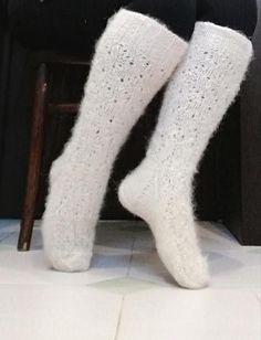 Beautiful knitted white knitted socks for women, long knee-high socks for long legs.Warm long socks made of Russian wool, white, for girls Beautiful knitted white knitted socks for women long   Etsy...  #Beautiful #Girls #kneehigh Long Socks For Girls, Winter Walk, Hand Logo, Knitted Slippers, Knee High Socks, Long Legs, Knitting Socks, Wool, Trending Outfits