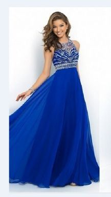 2dabf1263e Sapphire Blue Sexy Lace Backless Patchwork Ladies Evening Dress