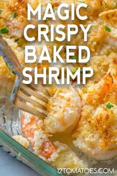 Magic Crispy Baked Shrimp - So easy and SO delicious. Fish Recipes, Meat Recipes, Seafood Recipes, Dinner Recipes, Cooking Recipes, Healthy Recipes, Seafood Appetizers, Baked Shrimp Recipes, Recipies