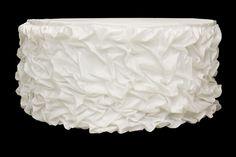 14ft Gathered Lamour Satin Tableskirt - White
