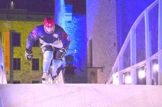 Jake Plant speeds down the ice at last year's Red Bull Crashed Ice competition. Plant is geared up to participate in this year's Crashed Ice.    Photo courtesy of Jake Plant