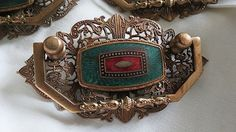 Antique Guilloche enamel Gold Wash 4 pc ART NOUVEAU Drawer Pulls from 2271668 on Ruby Lane