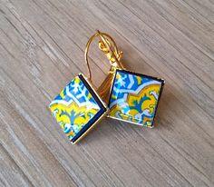 Portugal azulejo earrings Portuguese tiles Portugal by XTory