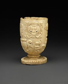 Vessel | 17th–18th century | Nigeria Culture: Yoruba peoples, Owo group | Medium: Ivory, wood or coconut shell inlay