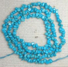 Real Sleeping Beauty Turquoise Tiny Chip Beads 18 Inch Strand Lot #17