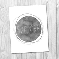 EXPLORE Printable Art   4 Sizes  Typography Print  by MOJAgraphics, €3.50