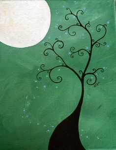 ORIGINAL Twisted to the Moon acrylic on canvas painting 11x14. $155.00, via…