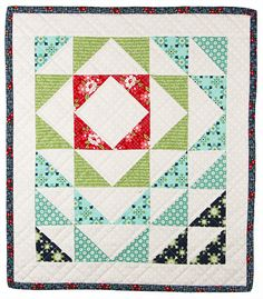 = free pattern = Ripples mini quilt with half square triangles.