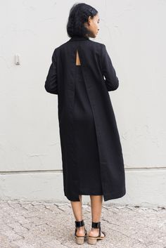 Contemporary Fashion - long black shirt dress with split back detail // Nomia…