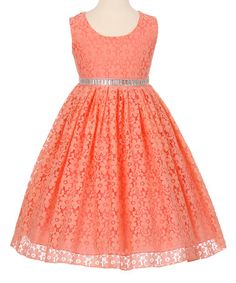 Look what I found on #zulily! Coral & Silver Lace A-Line Dress - Toddler & Girls #zulilyfinds