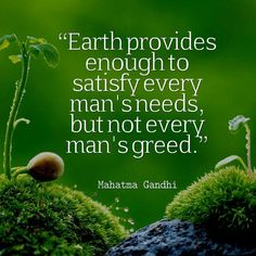 """""""Earth provides enough to satisfy every man's needs, but not every man's greed."""" - Mahatma Gandhi"""