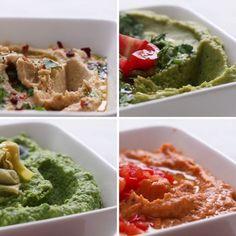 Delicious Healthy Hummus 4 Ways - Healthy Snacks & Appetizers backen recipes bread Healthy Hummus, Healthy Snacks, Healthy Eating, Dinner Healthy, Clean Eating, Vegetarian Recipes, Cooking Recipes, Healthy Recipes, Cooking Tips