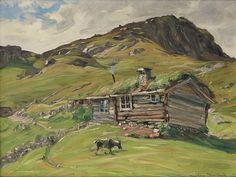 Gustav Wentzel Seter med geit One of my very favorite - Landscape Art, Landscape Paintings, Hudson River School, Tromso, Ludwig, Artist Art, Great Artists, Cute Art, Norway