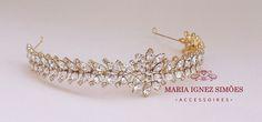 Tiara noiva cravejada strass navetes cristal e banho de ouro 18k. Tiara - Tiara noiva - Casamento - Noiva - Cabelo - Enfeite cabelo noiva - Grinalda - Curitiba