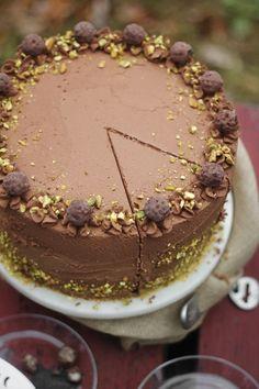 Black Truffle-Pistachio Chocolate Cake | Sprinkle Bakes