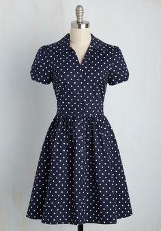 Summer School Cool Dress in Navy Dots