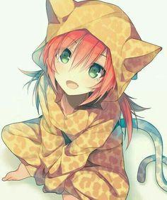 Orange hair and eyes green