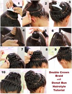 Do you love a double crown braid? How about a double crown braid with a doughnut bun? May sound so difficult to make but it is cute and it looks like a cake. Sock Bun Hairstyles, Braided Hairstyles Tutorials, Hair Tutorials, Hairstyle Ideas, Perfect Hairstyle, Beauty Tutorials, Wedding Hairstyles, Blonde Makeup, Natural Hair Care