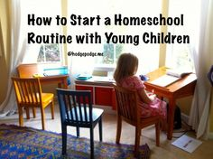 """A dear reader, Kimberly, asked: Any advice on starting the homeschool routine for the first time? For us, it's kindergarten so our first """"school"""" day routine ever! I'm wondering how to make the transition from six years of all day, all play! Homeschool Habits 101 Oh how exciting Kimberly! In"""