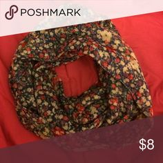 Floral infinity scarf Floral infinity scarf. Picture is of the scarf wrapped around three times. Can be worn tighter or looser. Only worn once. Accessories Scarves & Wraps