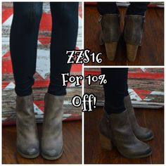 The booties are adorable!  And they're Sbicca brand so they'll be amazingly comfortable!  Enter ZZS16 for 10% off!  Plus shipping is free and there's no tax! www.zigzagstripe.com