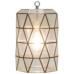 "Worlds Away touches the home with marvelous of-the-moment treasures inspired by vintage finishes, patterns and styles. Elegant and geometric, the Mariah pendant introduces striking design to a dining room's decor. Created from a metal frame, this modern light fixture shimmers with diamond-shaped clear glass accents. Accepts 60W max bulb (not included). Includes canopy and chain. 10"" Diameter x 15""H."