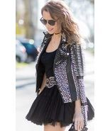New Woman Punk Black Biker Spiked Studded Cowhide Leather Jacket All Siz... - $289.99+