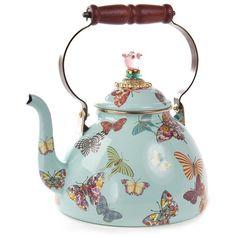MacKenzie-Childs Butterfly Garden Enamel Tea Kettle - Sky - L ($180) ❤ liked on Polyvore featuring home, kitchen & dining, cookware, blue, blue kettle, mackenzie childs kettle, tea kettle, enamel coated cookware and enamel tea kettle