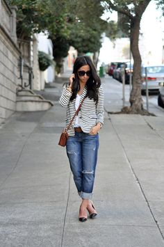 Simple in Stripes | another gorgeous lady in a striped blazer - LOVE!
