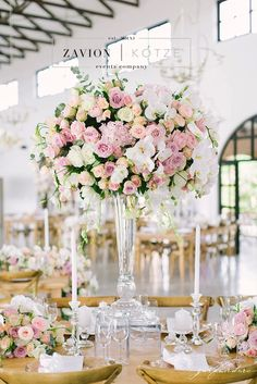 35 Ideas For Wedding Table White Pink Floral Arrangements Tall Wedding Centerpieces, Wedding Venue Decorations, Wedding Arrangements, Wedding Table Settings, Flower Centerpieces, Floral Arrangements, Table Arrangements, Elegant Wedding Themes, Wedding Reception Design