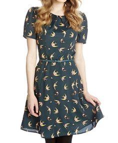 Birds Print Casual Scoop Neck Color Block Short Sleeve Women's Dress
