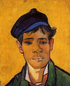 Young Man with a Cap, 1888. Van Gogh painted this portrait of the young man in December, employing his often-used technique of applying a single unifying colour through the image. Here the shallow yellow of the boy's flesh carries on to the background, against which the deep blue hat presents a striking contrast.
