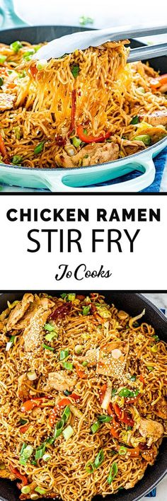 Chicken Ramen Stir Fry is a simple but tasty dish that is perfect for any night of the week Packed full of crunchy veggies cooked down in a savory spicy sauce served over. Ramen Recipes, Asian Recipes, Chicken Recipes, Cooking Recipes, Noodle Recipes, Tasty Dishes, Food Dishes, Main Dishes, Al Dente