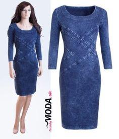 Dámske džínové šaty z pohodlného materiálu s prímesou elastanu v dĺžke po kolená - trendymoda.sk