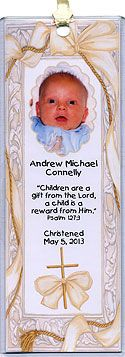 Photo Christening Bookmarks in White & Gold Cross design, personalized with your message. Also great for baptism and dedication.  More christening favors at   http://www.photo-party-favors.com/