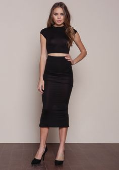 Black Slit Jersey Midi Skirt, BLACK | MQMP CASUAL EDITON ...