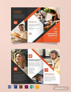 A modern brochure template to promote your corporate company. The template is professionally designed to be informative and effective. This easy to edit and fully customizable template is printable and shareable online. 3 Fold Brochure, Brochure Design Layouts, Page Layout Design, Free Brochure, Graphic Design Brochure, Travel Brochure Template, Creative Brochure, Online Brochure Design, Brochure Printing