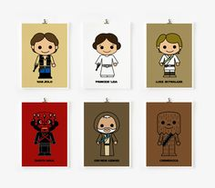 Cute Star wars art print 5 x 7 set of 6 Set B by loopzart on Etsy