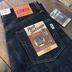 """edwin-europe: """"The ever popular Nashville is now back in stock at 123 Bethnal Green Road… A true original Edwin fit, high rise with a wide and straight leg available only in our Unwashed 14oz Red..."""