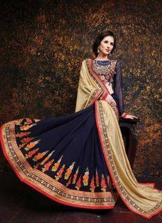 Integral Blue Pure Banarasi Georgette Embroidery Work Lehenga Saree  http://www.angelnx.com/Sarees/Lehenga-Sarees#/sort=p.date_added/order=DESC/limit=32/page=3