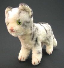 OLD VINTAGE GERMAN STEIFF CAT LOVELY TOY BUTTON ON EAR x