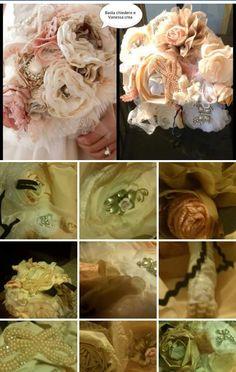 Bouquet  di stoffa e gioielli! Bouquet di strass spilla Bouquet, Bouquet da sposa, da sposa, Bouquet di fiori di tessuto, Vintage bouquet, Champagne e avorio, Shabby Chic Bouquet