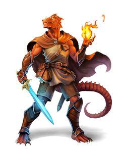 Half Red Dragon Magus - Pathfinder PFRPG DND D&D d20 fantasy