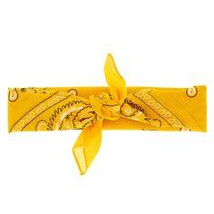 Claire's Paisley Print Bandana Headwrap - Mustard Yellow