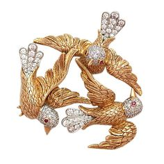 verdura jewelry brooches | Vintage Verdura Gold and Diamond Brooch, 1953 at 1stdibs
