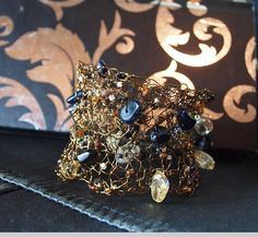 Bronze Wire Crochet Cuff with Blue by DesignsbyNatureGems on Etsy, $75.00
